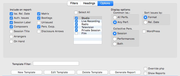Options section for reports generator window of BRIAN Discography Software