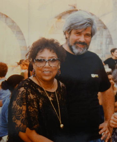 Etta Jones and the author, early 1990's. at the Riverside Park Jazz Festival